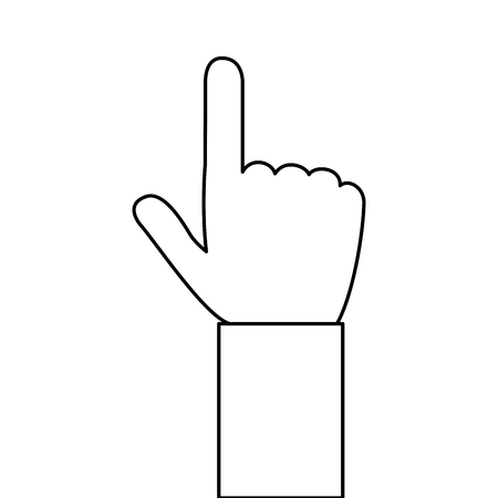 pointing hand: simple black line hand pointing with index finger vector illustration Illustration