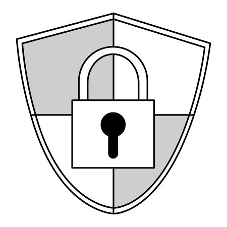 secure site: shield with safety lock in the center vector illustration