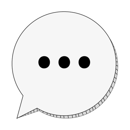 three dots: round conversation bubble with three dots in the center vector illustration Illustration