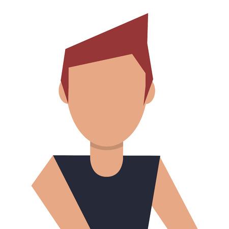 brown hair: caucasian head man brown hair avatar vector illustration