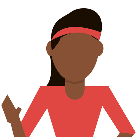 dark skin: dark skin woman with red sweater and headband vector illustration