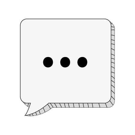 three dots: square conversation bubble with three dots vector illustration
