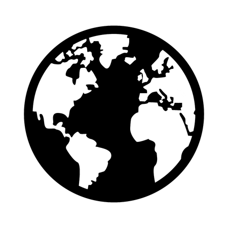 distinction: black and white earth globe with distinction between land and sea vector illustration Illustration
