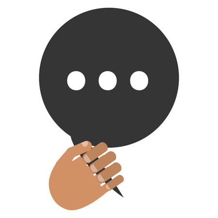 three dots: tan hand holding black round conversation bubble with three dots inside vector illustration