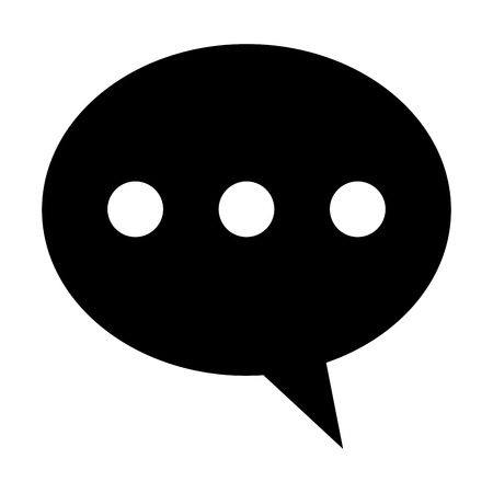three dots: black round conversation bubble with three dots in the center vector illustration
