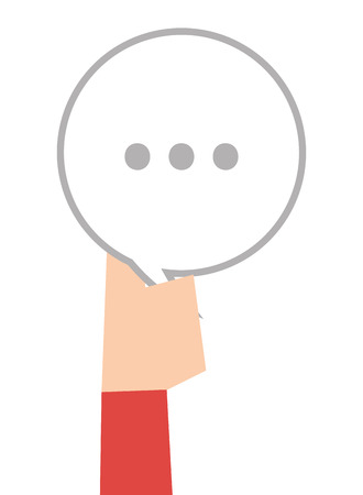 three dots: hand holding white round conversation bubble with three dots vector illustration