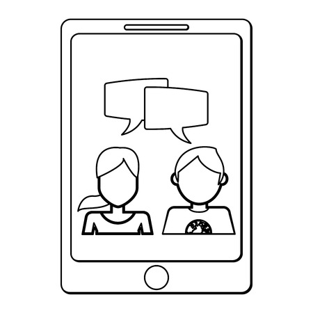 woman cellphone: cellphone showing man and woman talking vector illustration