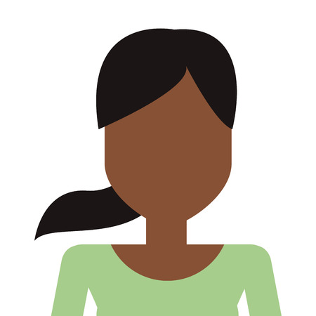 pony tail: dark skin woman with green top and pony tail vector illustration Illustration