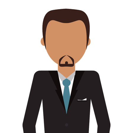 brown skin: tan skin man with brown hair and beard wearing suit and tie vector illustration