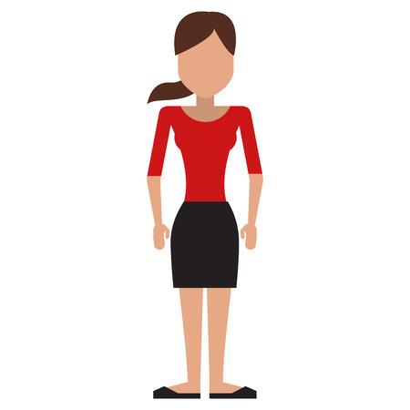 cola mujer: avatar de cuerpo completo de mujer con falda negro tapa roja y la ilustración pony tail vector