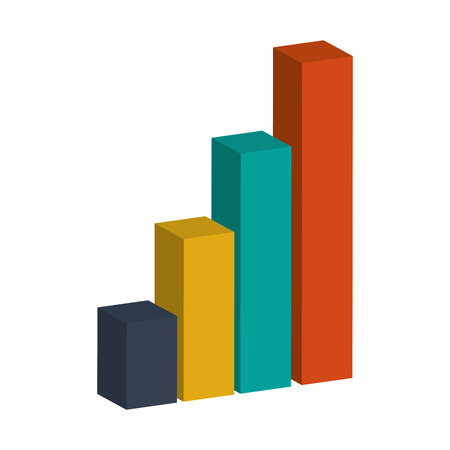 grow money: colored bar graph 3d vector illustration flat style design