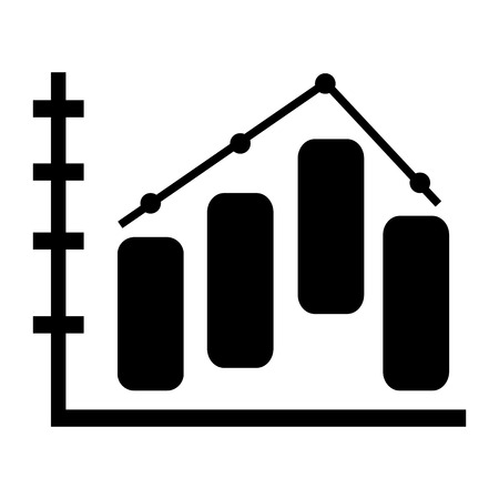 grow money: black bar graph vector illustration flat style design Illustration