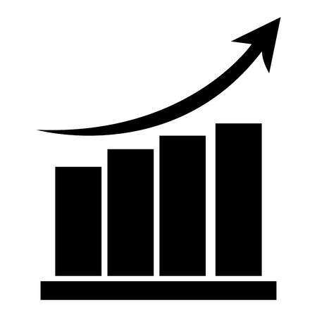 grow money: black bar graph with arrow on top pointing upwards vector illustration Illustration