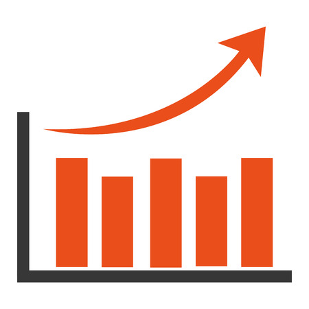 grow money: orange bar graph with arrow on top pointing upwards vector illustration