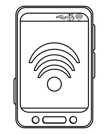 bottom line: simple black line cellphone with three buttons in the bottom and three buttons to the side with wifi icon on the screen vector illustration