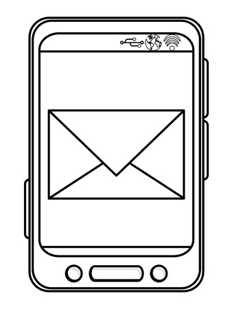 bottom line: simple black line cellphone with three buttons in the bottom and three buttons to the side with envelope on the screen vector illustration
