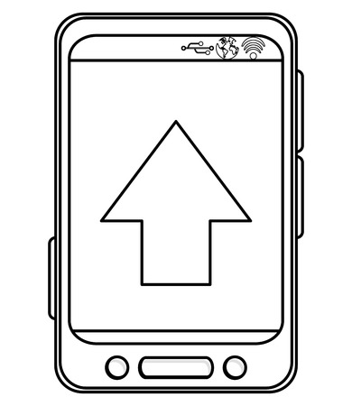 bottom line: simple black line cellphone with three buttons in the bottom and three buttons to the side and big arrow pointing up on screen vector illustration Illustration