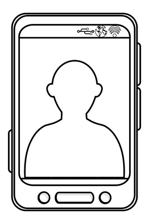 bottom line: simple black line cellphone with three buttons in the bottom and three buttons to the side and person icon on screen vector illustration Illustration