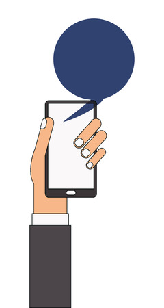 cellphone in hand: caucasian arm and hand holding cellphone with blue chat bubble coming out of it vector illustration