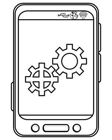 bottom line: simple black line cellphone with three buttons in the bottom and three buttons to the side and two gears on screen vector illustration
