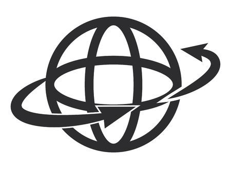 surrounding: earth globe diagram with two arrows surrounding it vector illustration