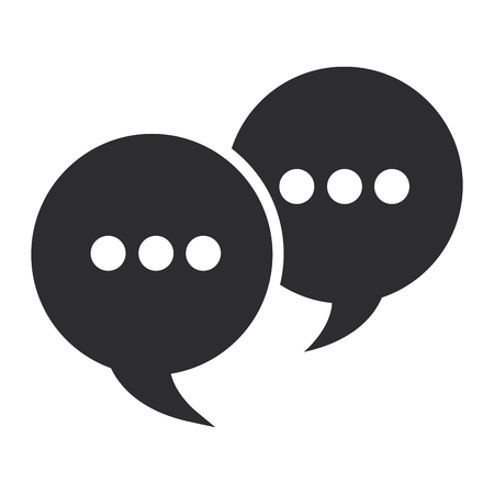 three dots: two conversation bubbles with three dots in their center vector illustration