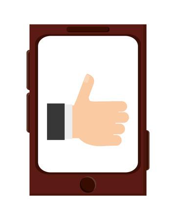 hand raising: cellphone with caucasian hand raising thumb up on screen vector illustration