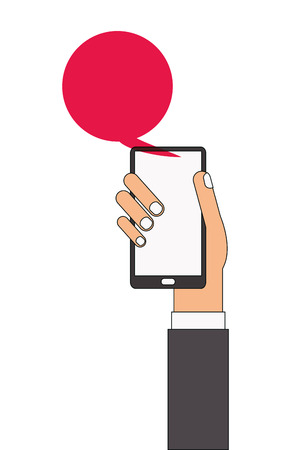 cellphone in hand: caucasian arm and hand holding cellphone with red chat bubble coming out of it vector illustration Illustration