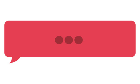 three dots: red rectangle chat bubble with three dots in the center vector illustration Illustration