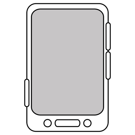 bottom line: simple black line cellphone with three buttons in the bottom and three buttons to the side