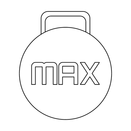 max: simple black line kettlebell with the word max in the center vector illustration Illustration