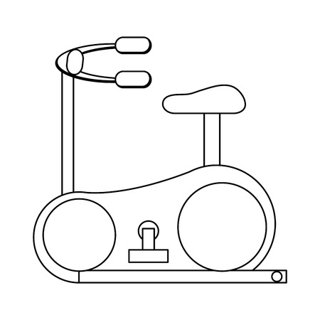 stationary bicycle: simple black line stationary bicycle vector illustration Illustration