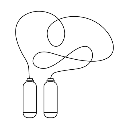 jump rope: simple black line jump rope with handles vector illustration
