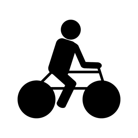 training wheels: simple black silhouette of person riding a bike vector illustration Illustration