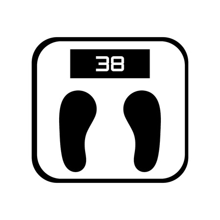 kilograms: simple black and white digital weight scale vector illustration