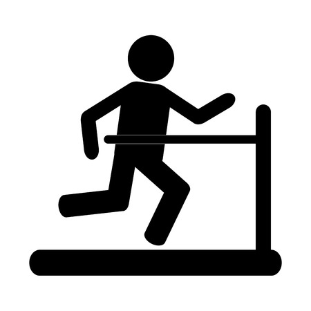 well being: simple black silhouette of person running on the treadmill vector illustration