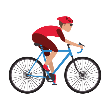 well being: person riding blue bycicle with full gear vector illustration Illustration