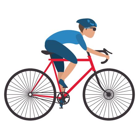 ギアのベクトル図をサイクリングで赤い自転車に乗る人