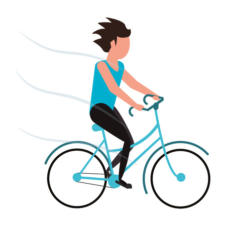 bycicle: person riding blue bycicle vector illustration flat style design