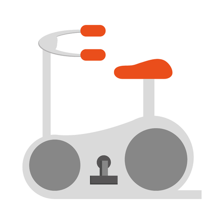 stationary bicycle: simple grey and orange stationary bicycle vector illustration