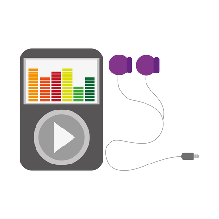 audiovisual: music player with large play button and colorful equalizer on the screen with earphones vector illustration