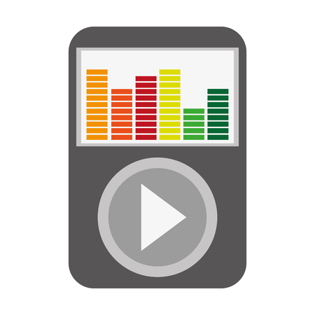 audiovisual: music player with large play button and colorful equalizer on the screen vector illustration