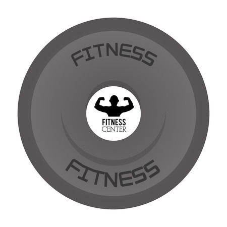 grey kettlebell with the words fitness on top and bottom and man flexing in the center vector illustration