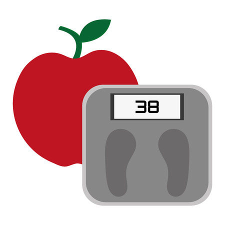 grey scale: simple red apple with stick and leaf on top and grey weight scale vector illustration Illustration