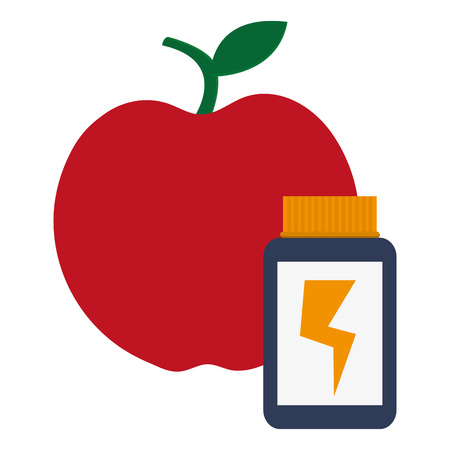 supplement: red apple with dietary supplement next to it vector illustration