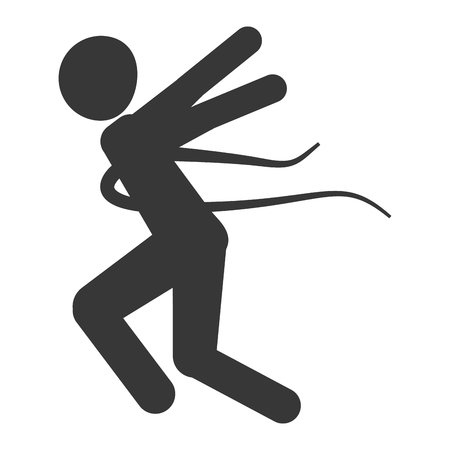 well being: silhouette of person crossing the finish line vector illustration