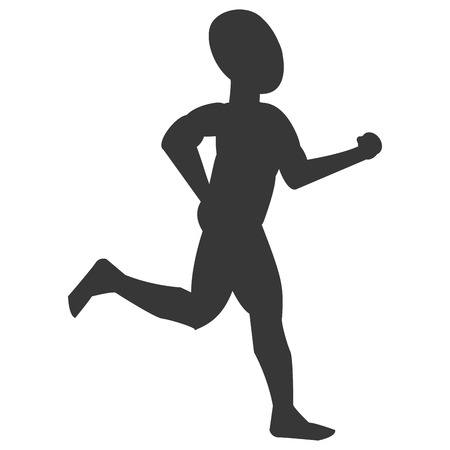 well being: silhouette of bald person jogging vector illustration Illustration