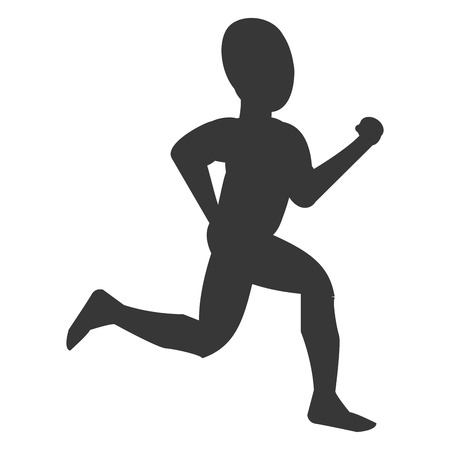 well being: simple silhouette of person runnng vector illustration Illustration