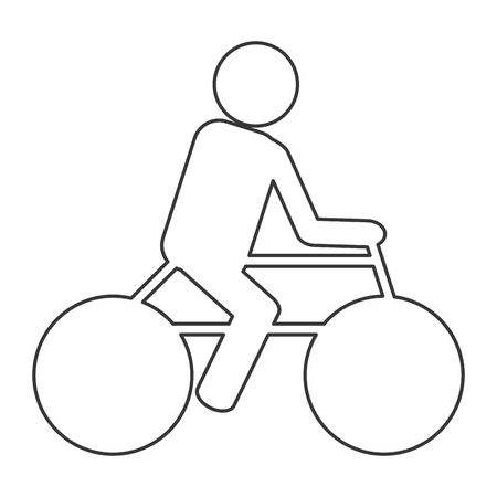 bycicle: simple outline of person riding a bycicle vector illustration