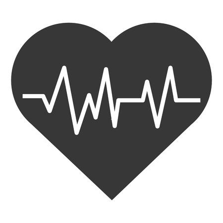 pulse: simple grey cartoon heart with pulse line inside vector illustration